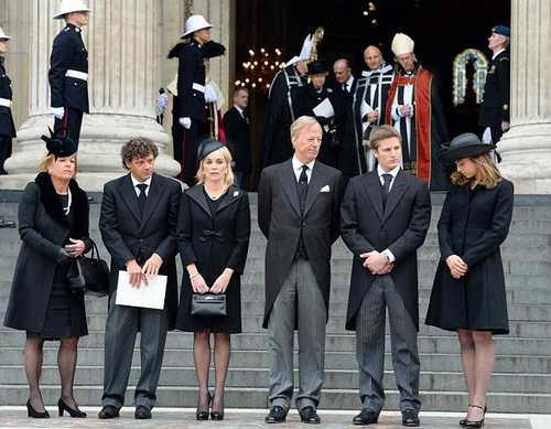 Семья Маргарет Тетчер на похоронах 17-04-2013